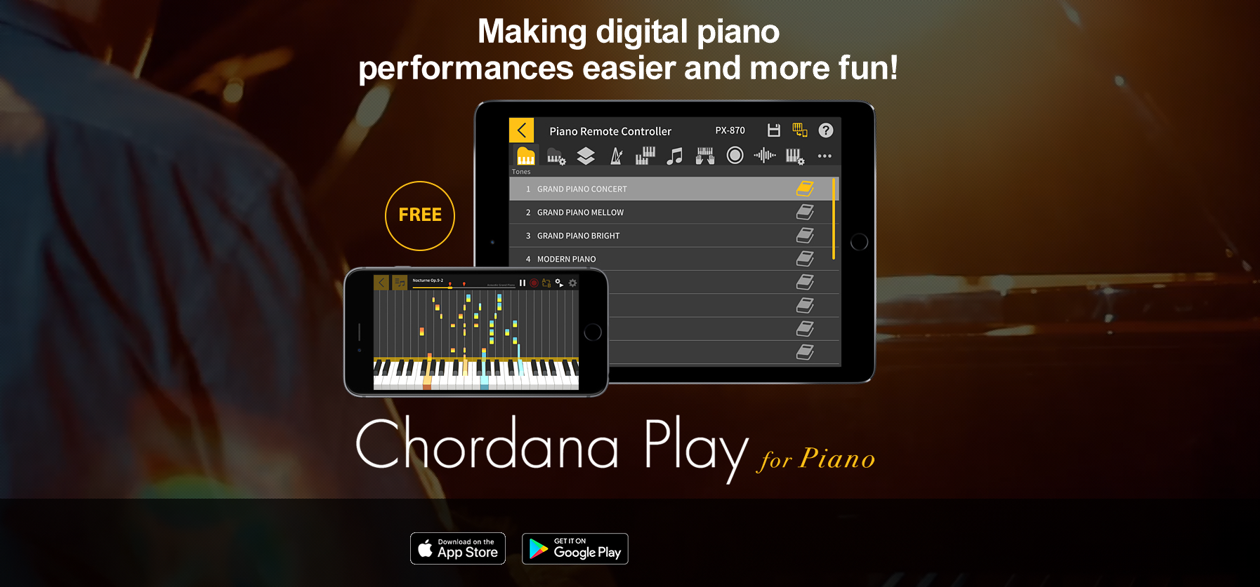 Chordana Play for Piano Supported