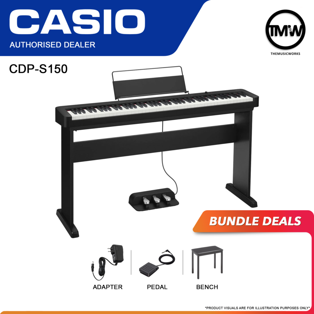 CDP-S150 black with adapter, pedal sustain, and casio bench
