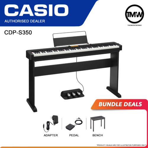 CDP-S350 black with adapter, pedal sustain, and casio bench