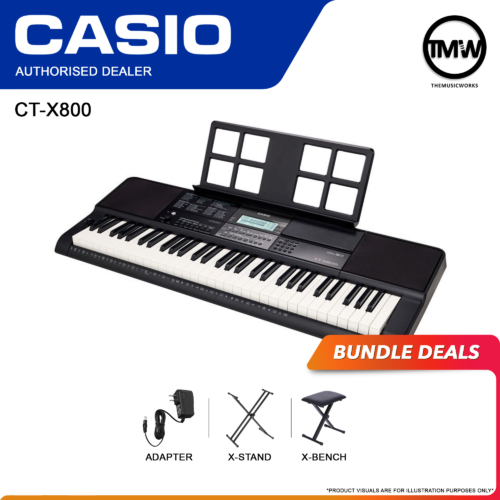 Casio CT-X800 Keyboard with Adapter, X-Stand, and X-Bench