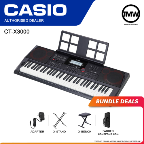 casio ct-x3000 keyboard with adapter, x-stand, x-bench, and bag