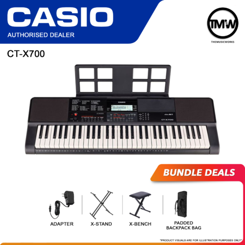 casio ct-x700 keyboard with adapter, x-stand, x-bench, and beg