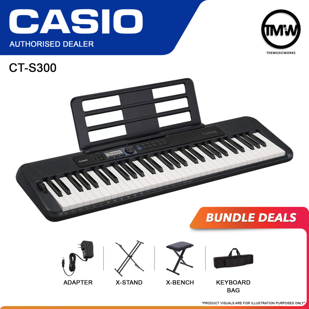 casio ct-s300 adapter, x-stand, x-bench, and keyboard bag