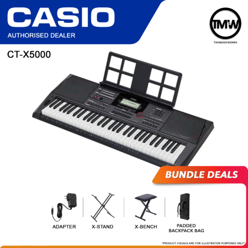casio ct-x5000 keyboard with adapter, x-stand, x-bench, and bag