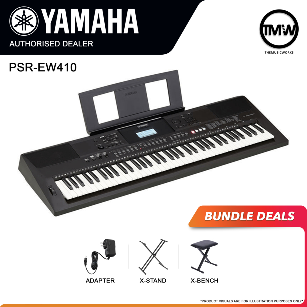 yamaha psr-ew410 with adapter, x-stand, and x-bench