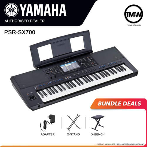 yamaha psr-sx700 keyboard with adapter, x-stand, and x-bench