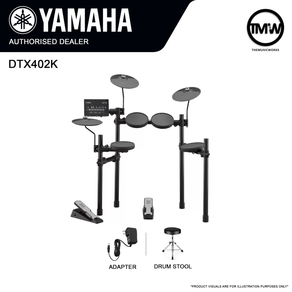 DTX402K with Drum Stool and Adapter