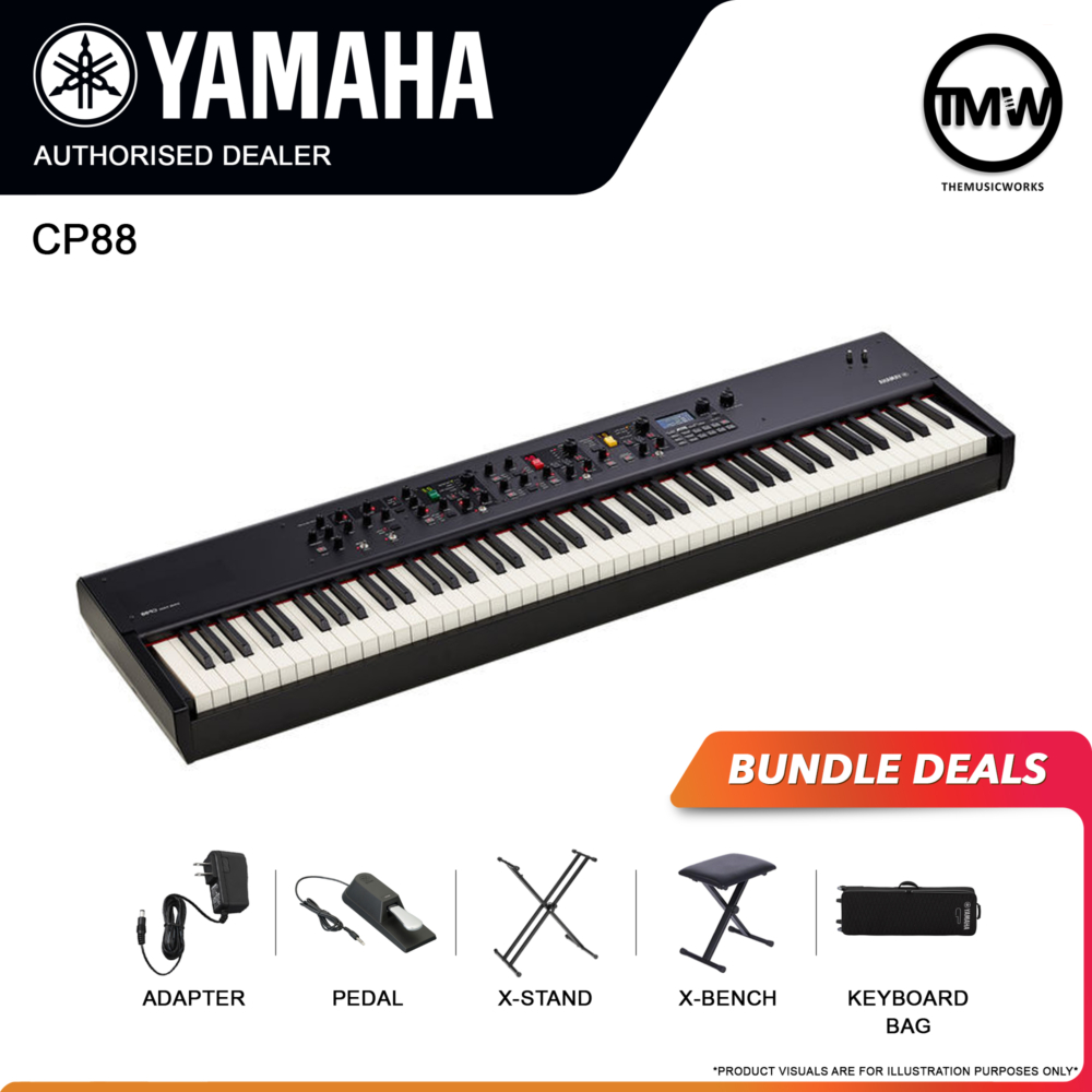 yamaha cp88 with adapter, pedal, x-stand, x-bench, and keyboard bag