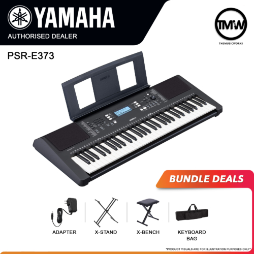 yamaha psr-e373 keyboard with adapter, x-stand, x-bench, and bag