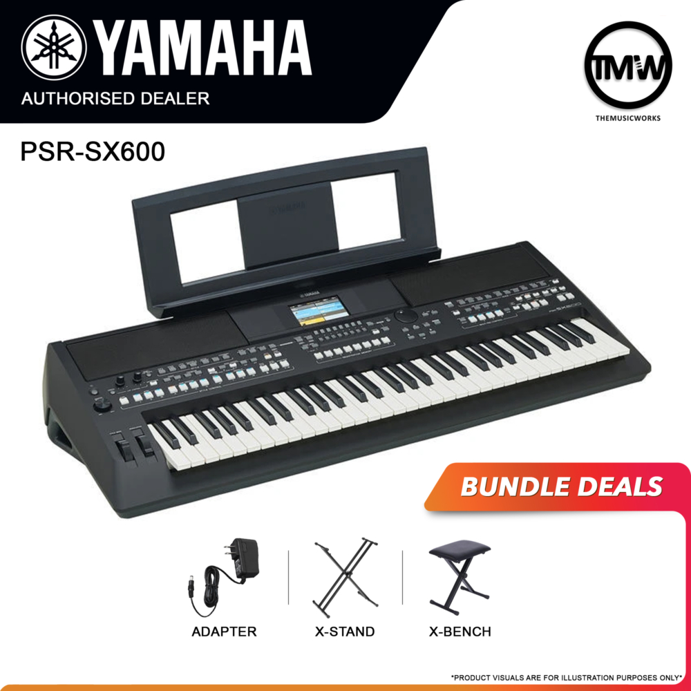 yamaha psr-sx600 keyboard with adapter, x-stand, and x-bench
