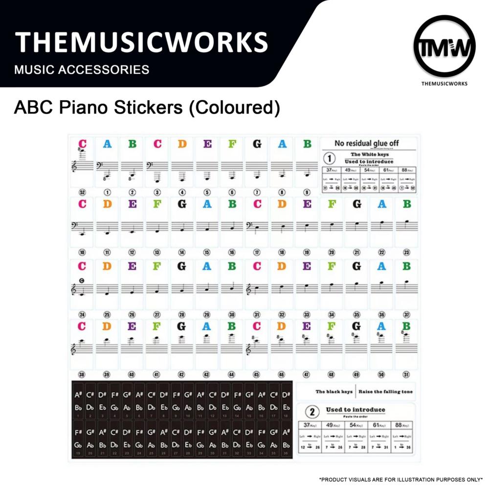 abc piano stickers coloured