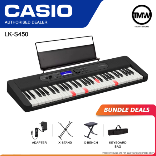 casio lk-s450 adapter, x-stand, x-bench, and keyboard bag