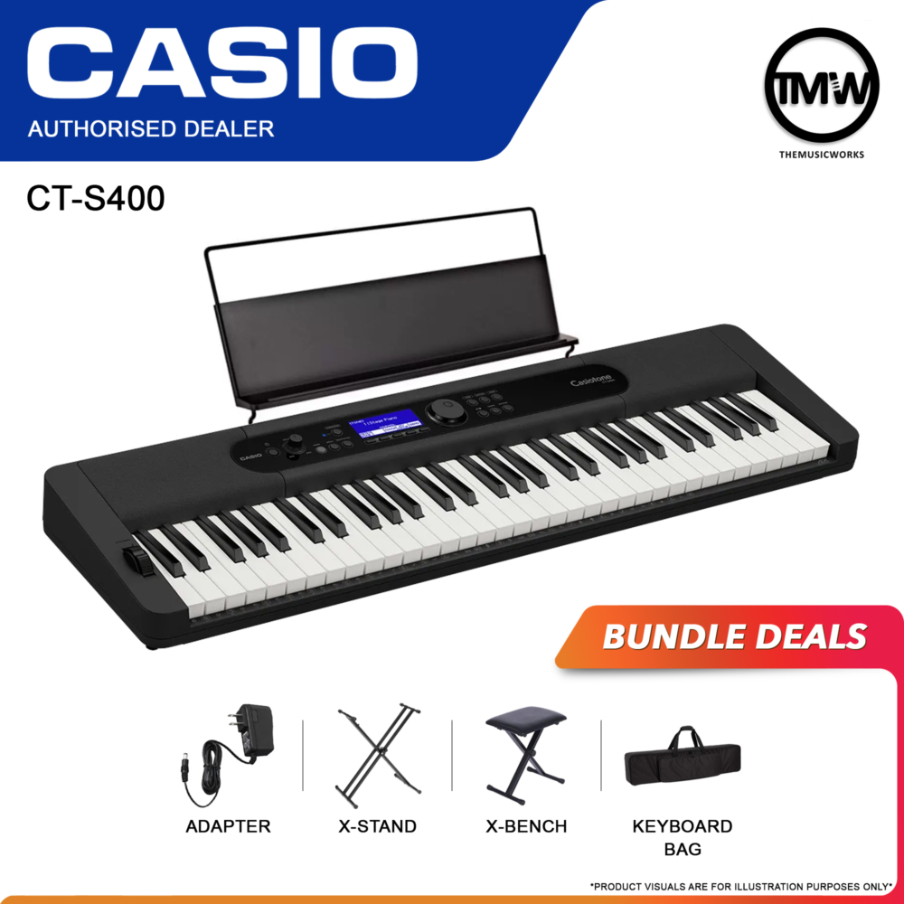 casio ct-s400 keyboard with adapter, x-stand, x-bench, and bag