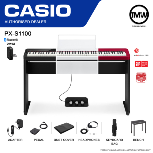 PX-S1100 Digital Piano Black White Red with Casio Bench