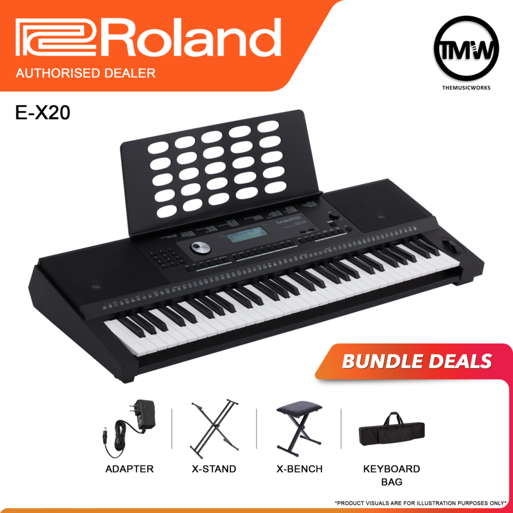 ex20 with adapter, x-stand, x-bench and keyboard bag