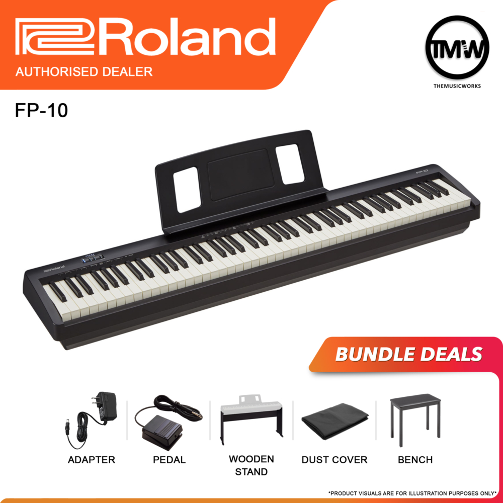 fp-10 black with adapter, pedal sustain, wooden stand, dust cover and normal bench