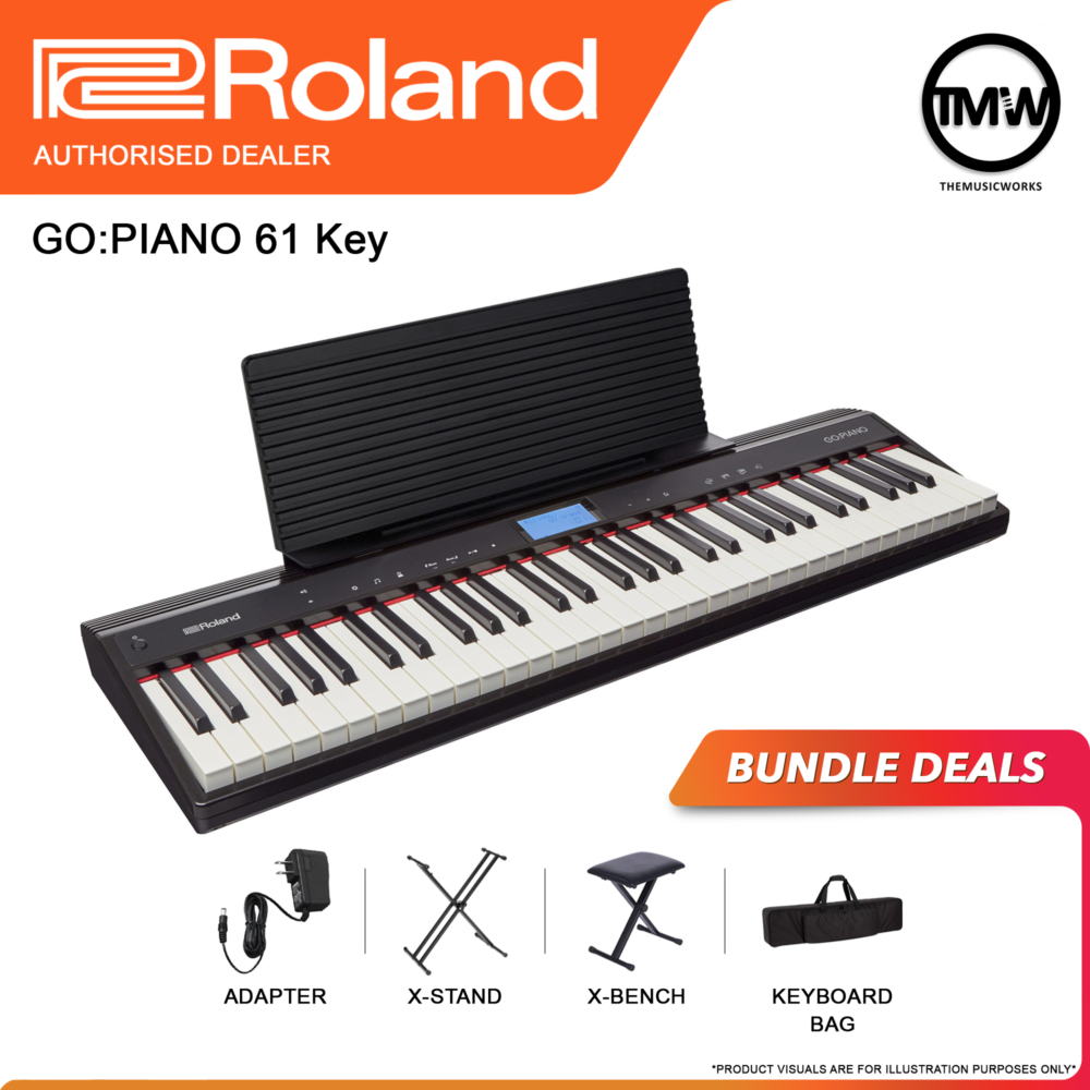 go piano 61 with adapter, x-stand, x-bench and keyboard bag