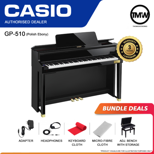 GP-510 Polish Ebony with Adapter, Headphone, Cleaning Cloth and Adjustable Bench with Storage