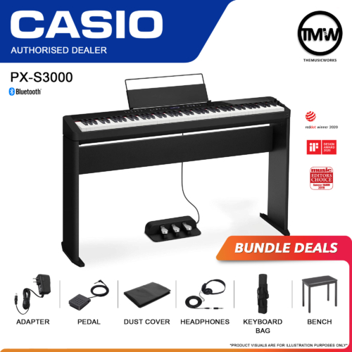px s3000 black with adapter, pedal, headphones, dust cover, bag and casio bench