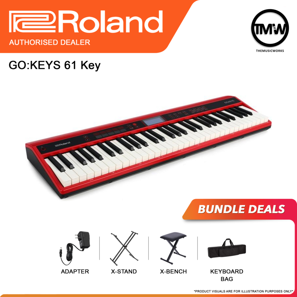 GO Keys 61 with adapter, x-stand, x-bench, and keyboard bag