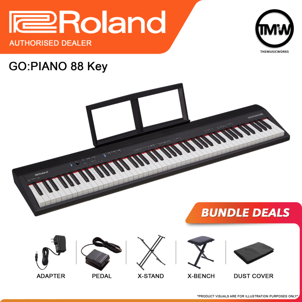 go piano-88 with adapter, pedal sustain, x-stand, x-bench, and dust cover