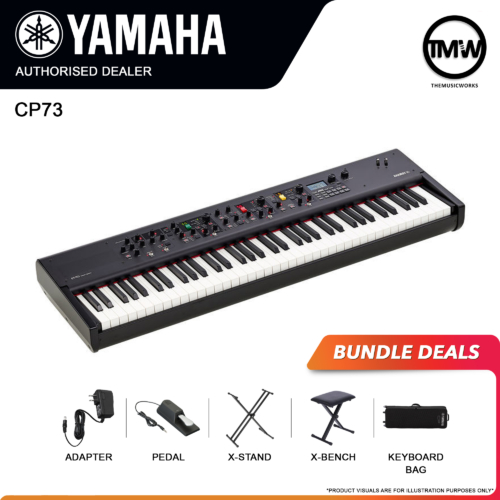 yamaha cp73 with adapter, pedal, x-stand, x-bench, and keyboard bag