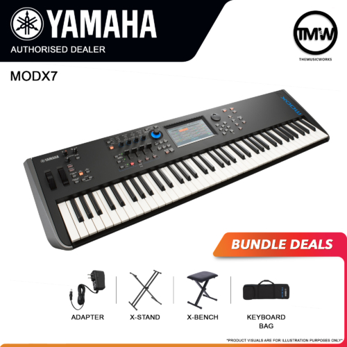 yamaha modx7 with adapter, x-stand, x-bench, and keyboard bag