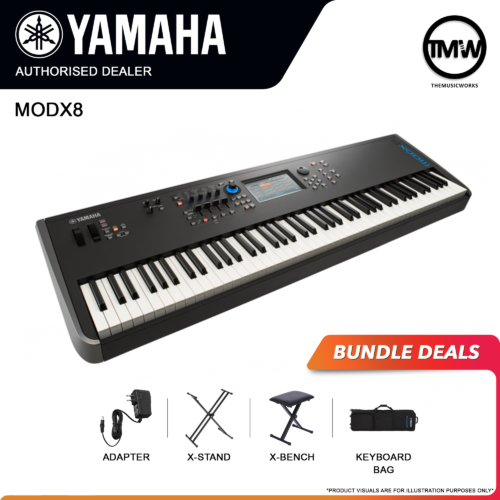 yamaha modx8 with adapter, x-stand, x-bench, and keyboard bag