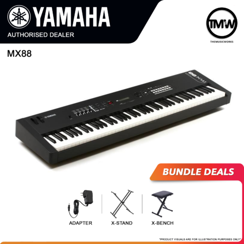 yamaha mx88 with adapter, x-stand, and x-bench