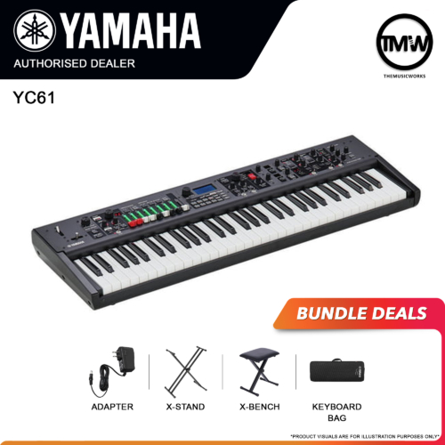 yamaha yc61 with adapter, x-stand, x-bench, and keyboard bag