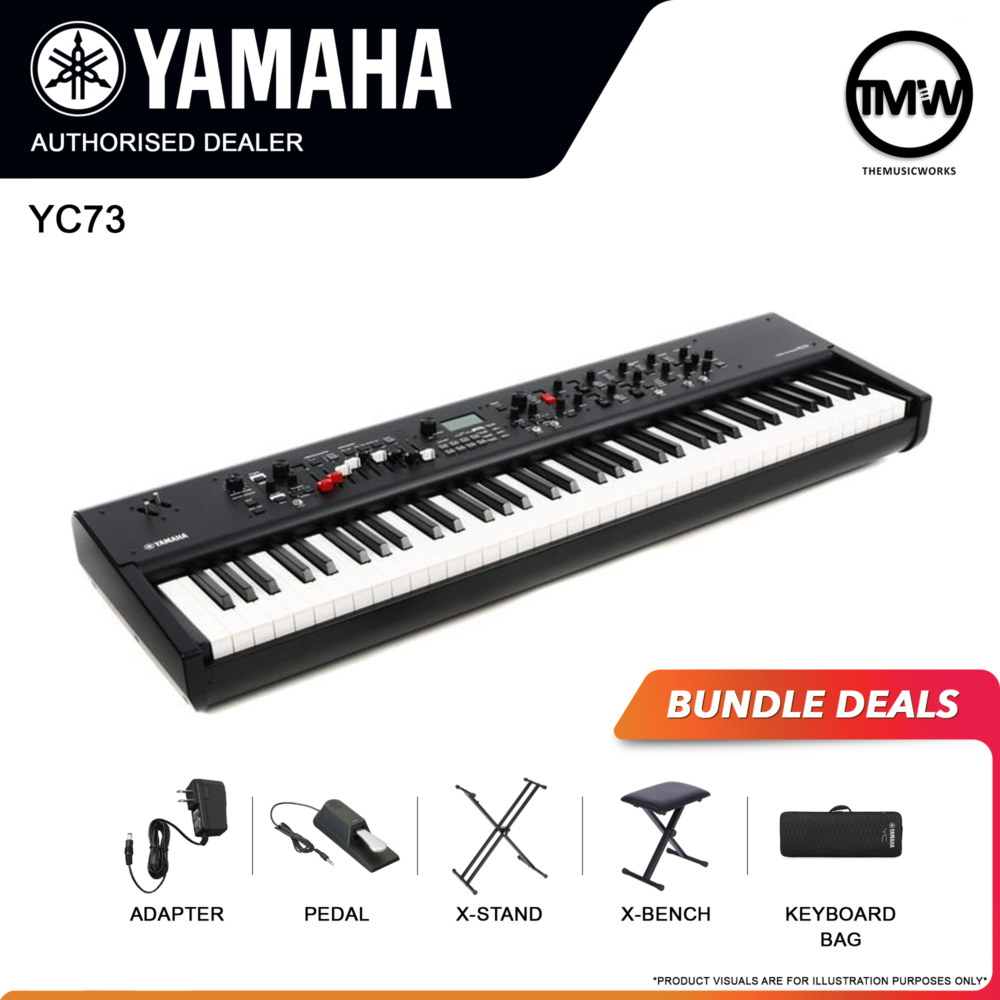 yamaha yc73 with adapter, pedal, x-stand, x-bench, and keyboard bag