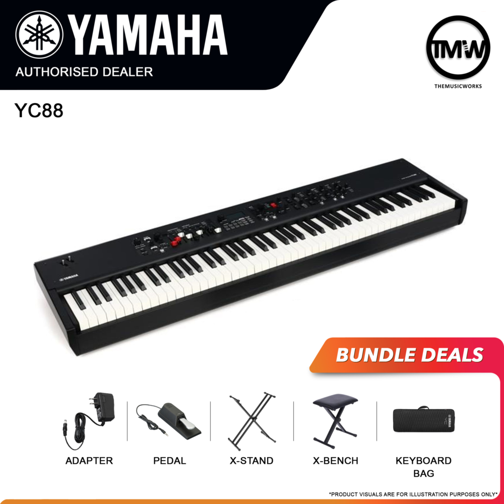 yamaha yc88 with adapter, pedal, x-stand, and x-bench